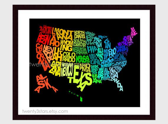 United States Typography Map Art Rainbow Art With Labeled US - Place the us states on the map