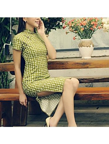 #863162  #AnnularRings #Qipao #Cheongsam - Green Polka Dot dress in cheongsam dress style Amy Green - cheongsam,  cheongsam dress,  cheongsam dresses,  cheongsam qipao,  qipao cheongsam,  singapore cheongsam,  cheongsam singapore,  cheongsam in singapore,