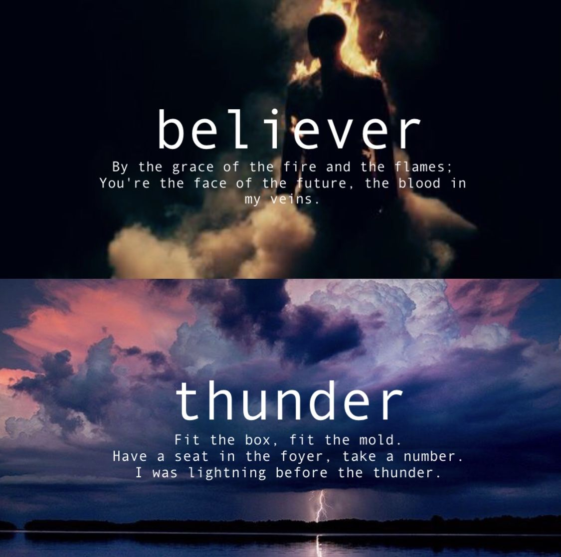 Imagine Dragons Believer And Thunder Con Imagenes Frases