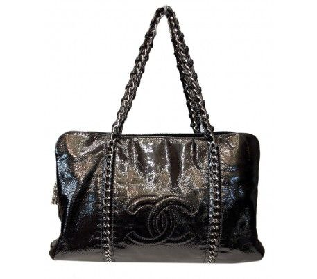 Leather · Chanel Black Patent Leather XL Modern Chain Bag 4ad518120239c