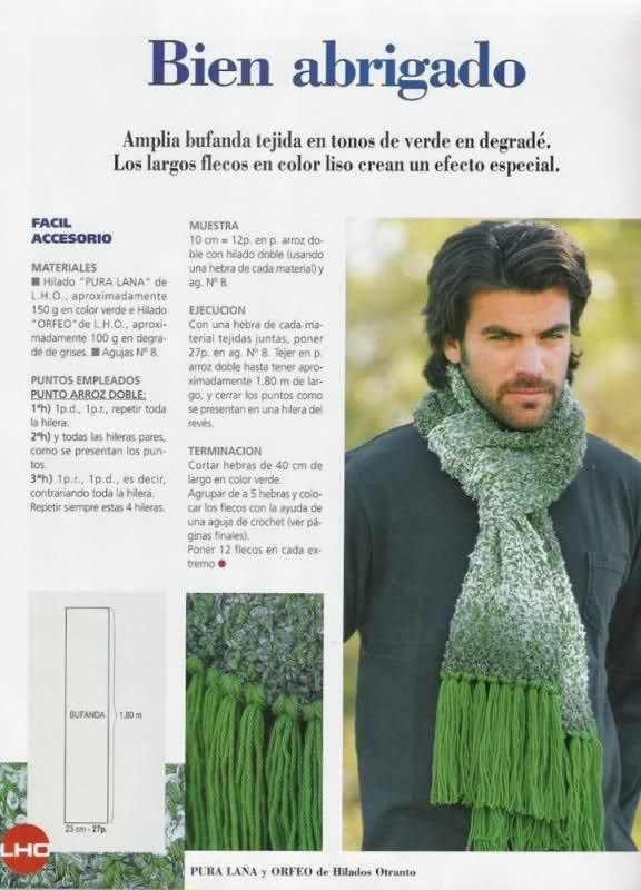 bufanda tejida en tonos de verde en degradé | Bufandas de tegido ...