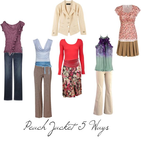 """""""Peach Jacket 5 Ways"""" by imogenl on Polyvore"""