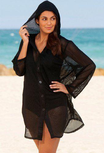 41bdd095bb Fashion Bug Long Sleeve Nassua Plus Size Mesh Hoodie Womens Swimsuit - Black  - Size 1X