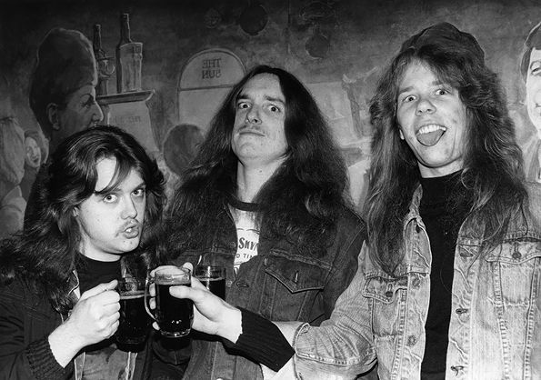 Lars Ulrich, Cliff Burton, and James Hetfield of Metallica circa 1984