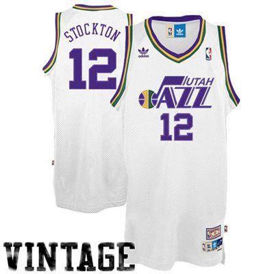 6d57a2f6 adidas John Stockton Utah Jazz #12 Throwback Swingman Basketball Jersey