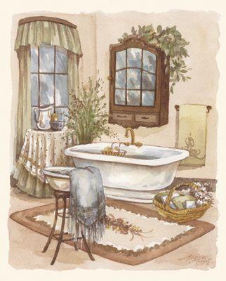 RB682 Sage Bath II 8x10 | Tile murals, Vintage bath ...