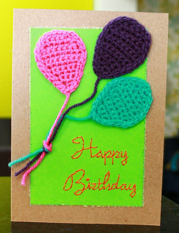 Happy birthday greetings card handmade original crochet happy birthday greetings card handmade and original crochet balloons and hand embroidered by daisyandarthur kristyandbryce Image collections