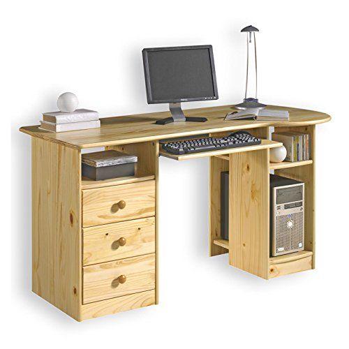 """Schreibtisch holz natur  Idimex PC Schreibtisch """"BOB"""" Kiefer massiv, natur lackiert ..."""