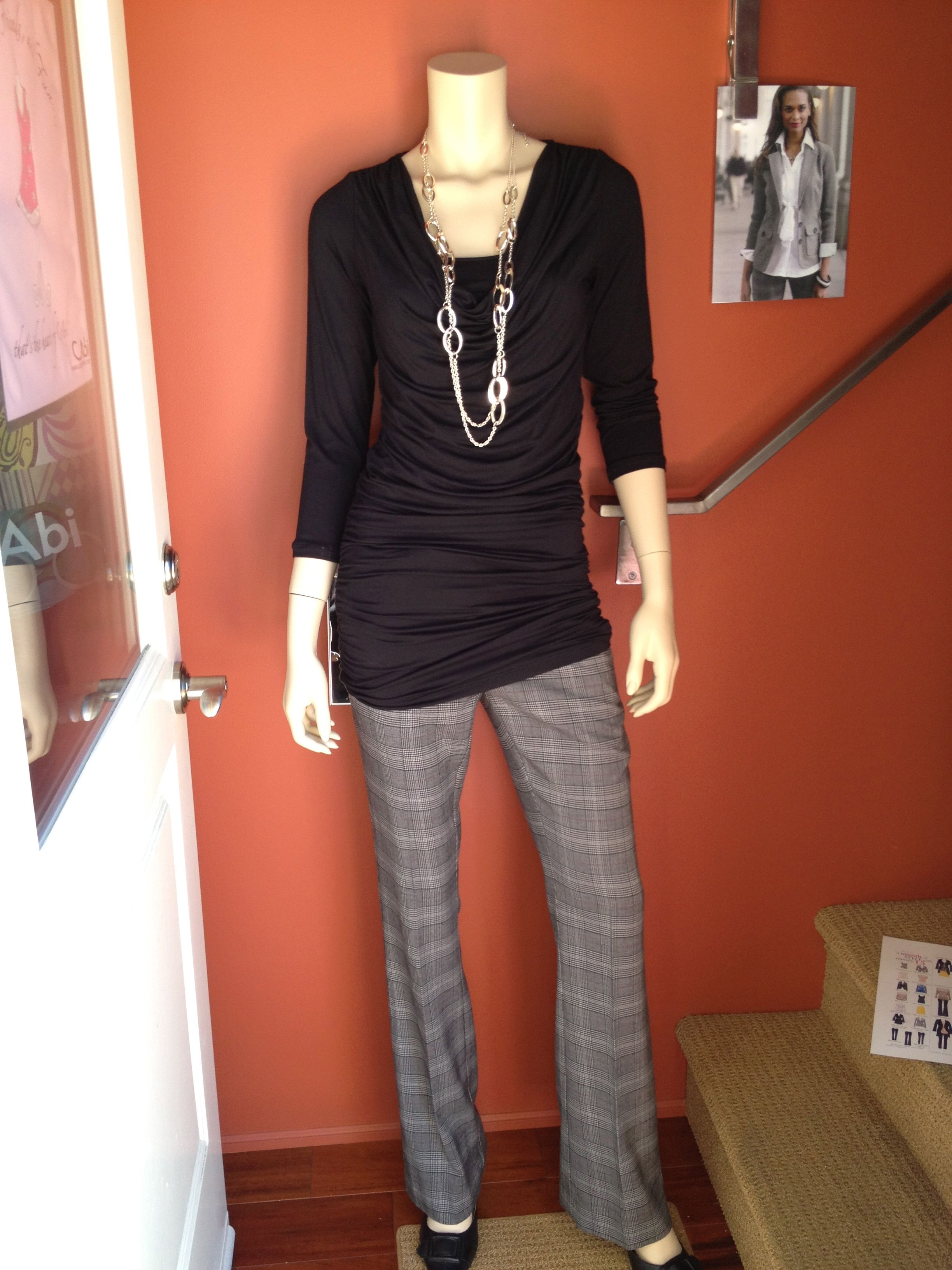 CAbi Shimmy Tunic pulled up to be more of a top. Paired with CAbi Counsel Pant. — at HartForFashion Studio.