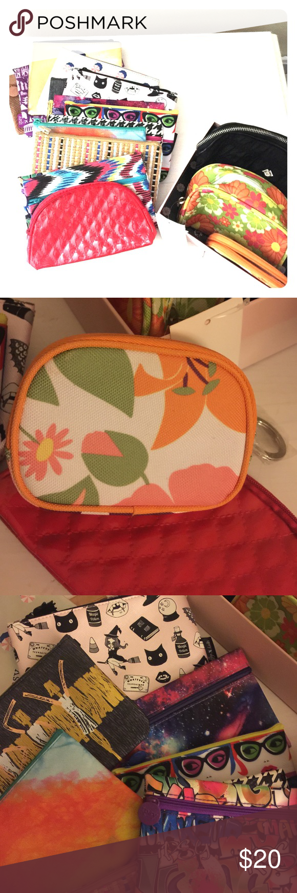 """Mixed lot of cosmetic cases/clutches All new! Never been used pouches, clutches, cosmetic cases. 1 lager sized black """"skinmedica"""" bag app. 7x5"""" 1 med sz flowered pouch with small pockets inside. 1 small """"Clinique"""" bag with key chain attached. The rest vary in size from about 6.5"""" to 8"""" long. Most zipper close some snap. Can be used for so many things including a cute clutch! There are 17 bags in all 14 of them are from """"Ipsy"""". Bags Cosmetic Bags & Cases"""