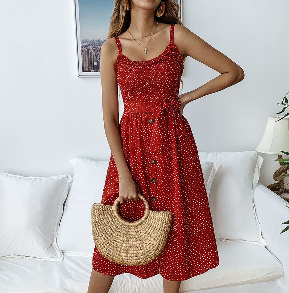 Women Polka Dot Dress Spaghetti Strap Buttons Summer Beach