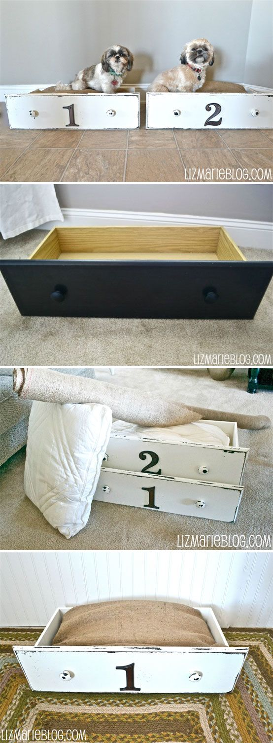 """DIY DRAWER PET BED :: A tutorial to repurpose an old drawer to make this adorable """"Drawer Pet Bed""""! She just distressed the outsides of the drawers a bit & made her own pillowcases for some old pillows out of burlap fabric. Click for the full tutorial!    #petbed #upcycleddrawers #repurposeddrawers"""