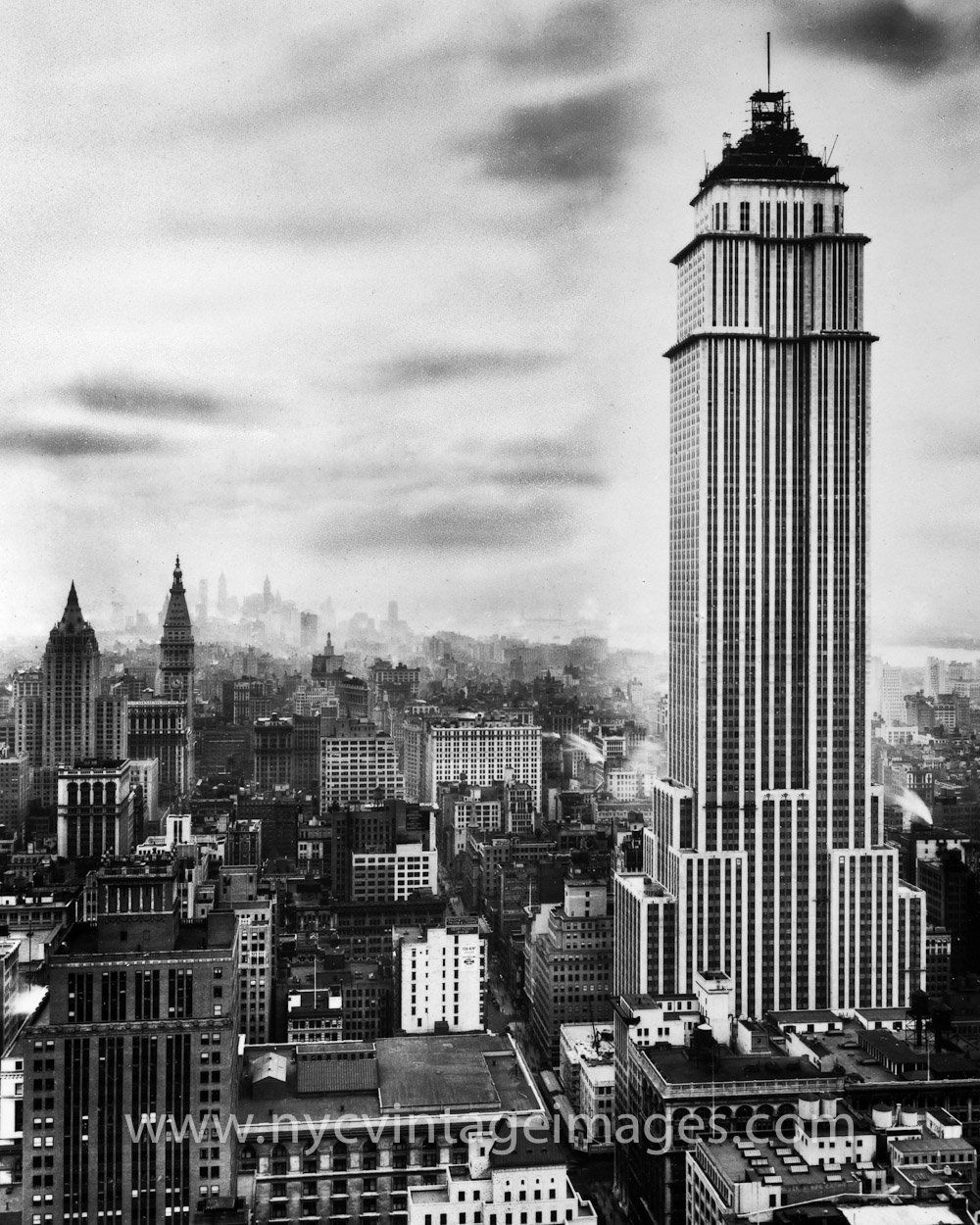 Empire State Building Under Construction Late 1930 York City Buildings