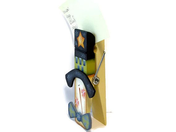 Snowman Clothespin Note Holder Photo Holder Hand Painted