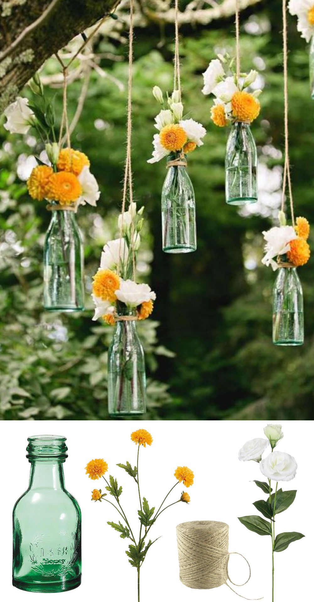 Easy And Low Cost Wedding Decorations Make This Beautiful Hanging Bottle Display With Silk Flowers