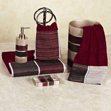 Modern Line Burgundy Bath Towel Set With Images Burgundy