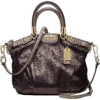 Coach Rare Limited Edition Bronze Sequin Ostrich Embossed Leather Mini Sophia Satchel Convertible Handbag