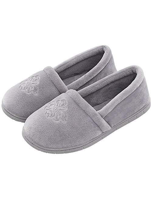 cf41abbad4c1 Women s Velvet Memory Foam Closed Back Slippers Lightweight Anti-Slid  Embroidery Ballerina House Office Shoes