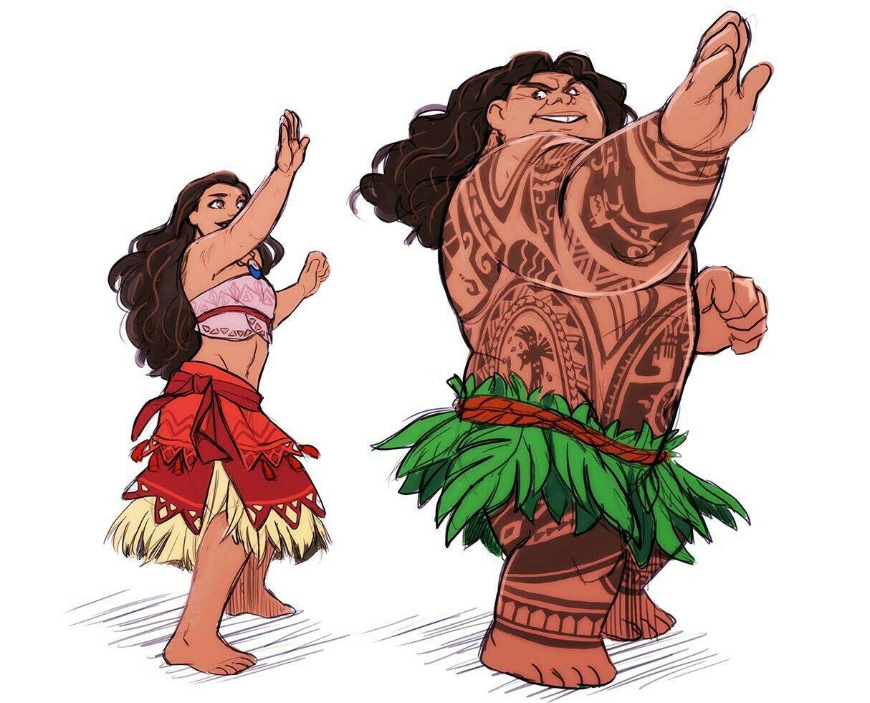 Dibujo Para Colorear De Maui Personaje Película Moana: Princesas Disney