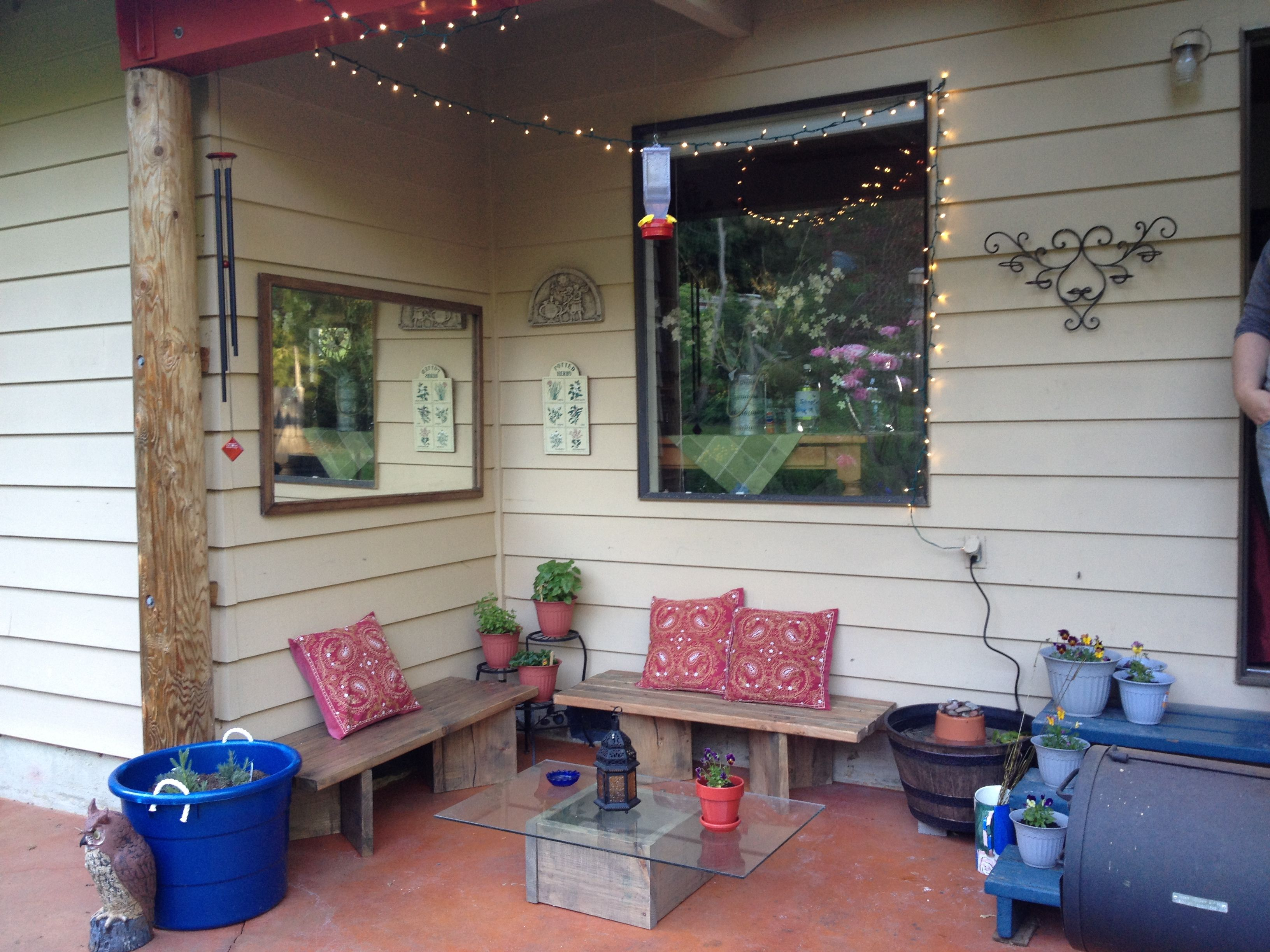 Captivating My $100 Patio: $40 Of Lumber, Pre Cut At Home Depot, $2. Glass Table  TopGlass ...