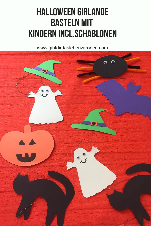 Möchtet Ihr etwas zu Halloween basteln? Hier ist ein tolles Halloween DIY zum Basteln mit Kindern mit Schablonen zum Ausdrucken.  #halloween #basteln #bastelnmitkindern #diy #freebie #halloweenpartygamesforkids