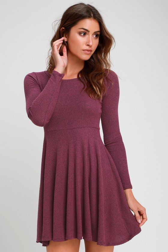 Fit and Fair Mauve Purple Ribbed Knit Long Sleeve Skater Dress -   14 dress For Teens skater ideas