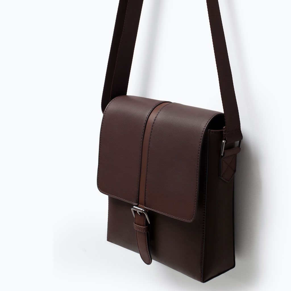 ZARA MAN OFFICE MINI MESSENGER BAG | Bolsos de cuero