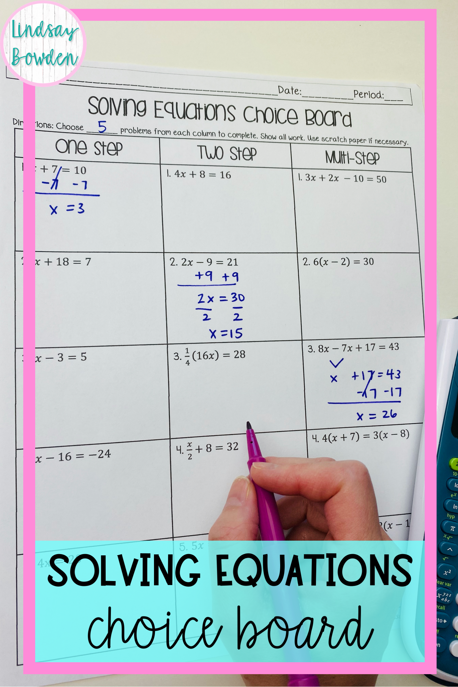 Solving Equations Choice Board In