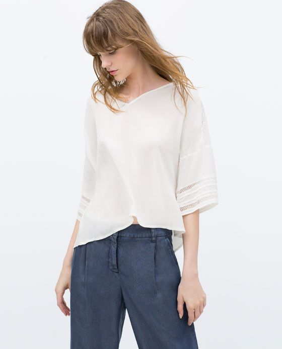 new release best price vast selection ZARA - NEW THIS WEEK - OFF THE SHOULDER SHIRT WITH LACE ...