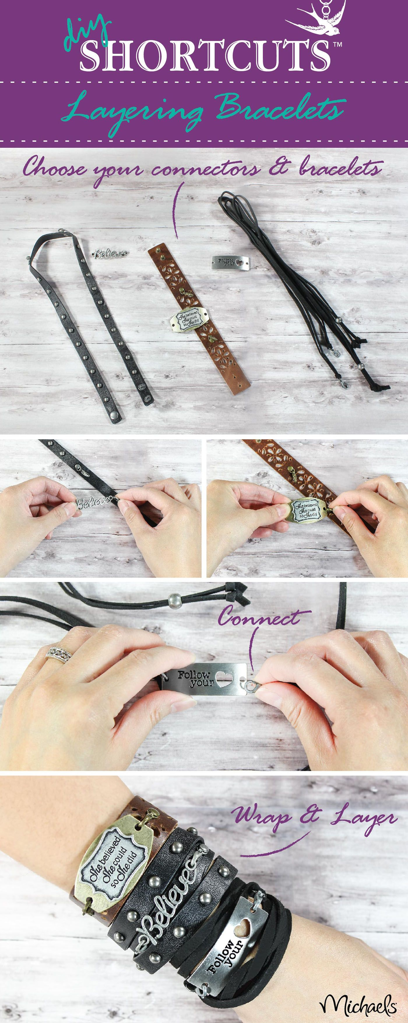Creating your own DIY  personalized boho style bracelets is super easy using Shorcuts components.