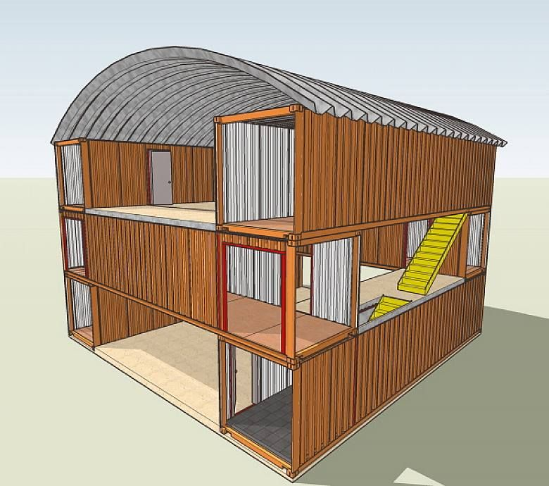 Modern shipping container house plan design small rental for Shipping container home building plans