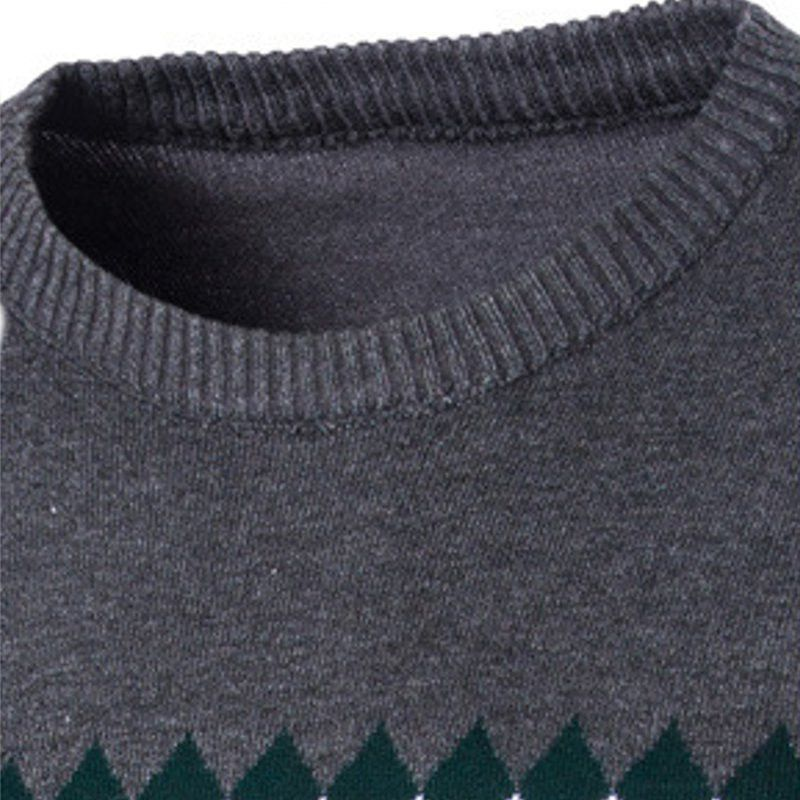 7db4be8a5d499a Men Winter Knitted Fabric Long Sleeve Round-collar Pullover Sweater ...