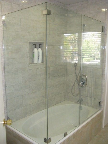 Glass enclosures for tubs doors that are on this website Shower tub combo with window