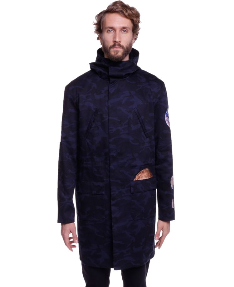 Raf Simons Parka With Sterling Ruby Graphics Navy Soto