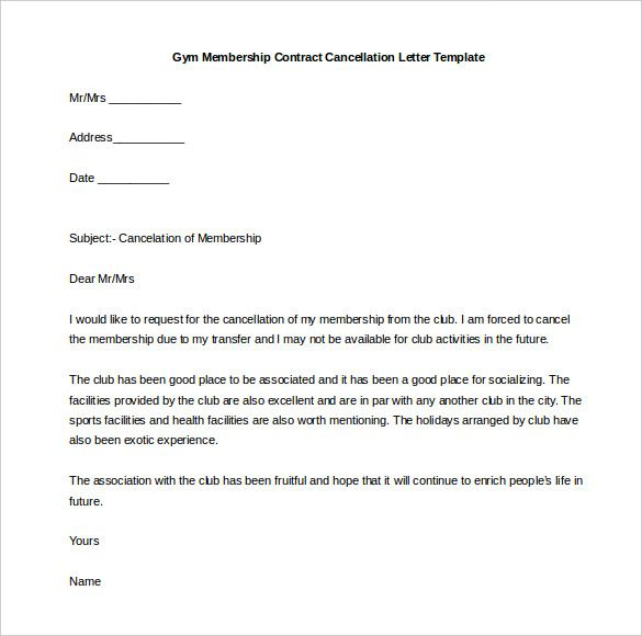 sample letter cancellation business contract gym request that - gym contract template