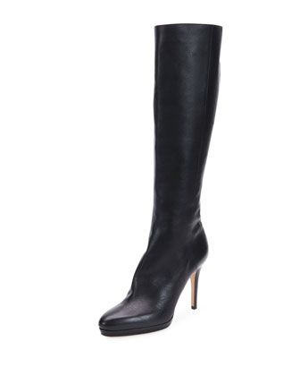 Glynn Grained Leather Knee Boot, Black by Jimmy Choo at Bergdorf Goodman.