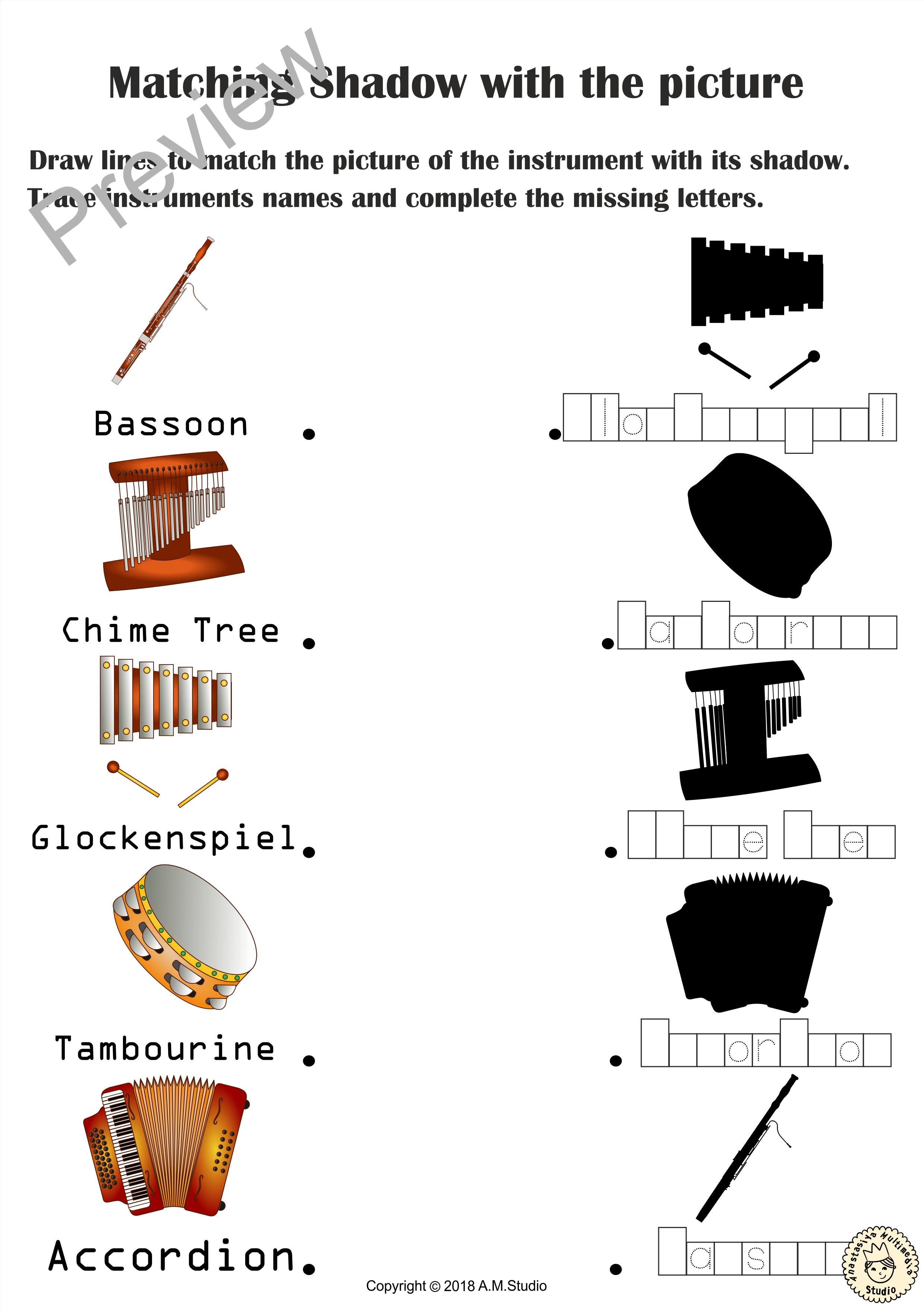 Musical Instruments Shadow Matching Worksheets Anastasiya Multimedia Studio Fun Worksheets For Kids Music Worksheets Instruments [ 3510 x 2479 Pixel ]