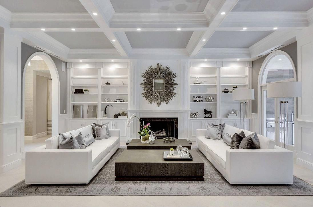 Restoration Hardware Inspired White Living Room Decor With Modern White Sofas Fireplace And White Living Room Decor Farm House Living Room Luxury Living Room