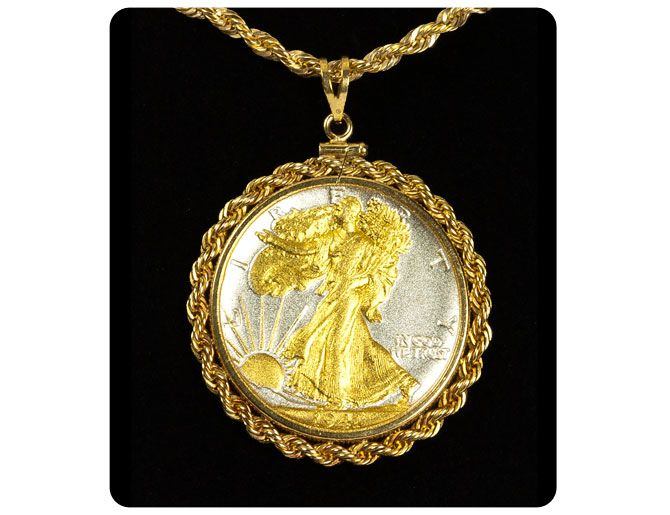 Walking Liberty (Two Tone) Lenscote French Rope Pendant Necklace $179.95