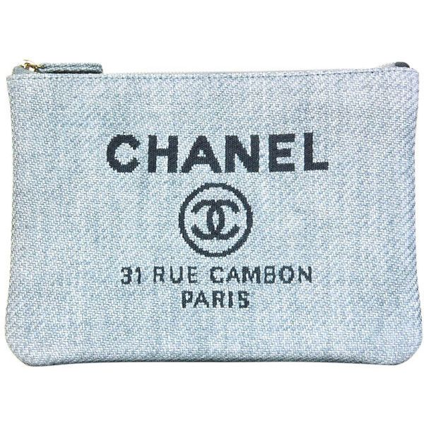 aa312dc2cedf CHANEL Blue Raffia RUE CAMBON Cosmetic Pouch/Clutch ($500) ❤ liked on  Polyvore featuring bags, handbags, clutches, fillers, blue fillers,  accessories, blue ...