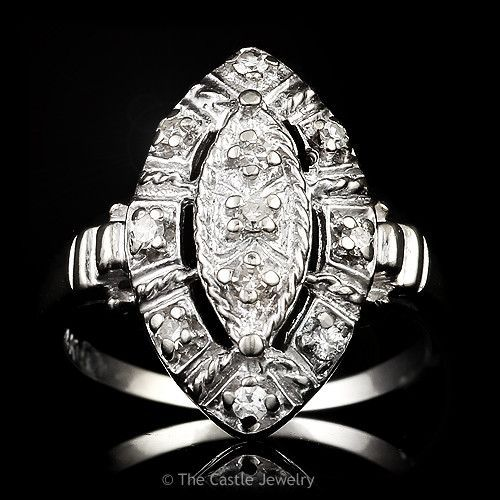 Vintage Style Marquise Shaped .10ctw Diamond Cluster Ring in 14k White Gold