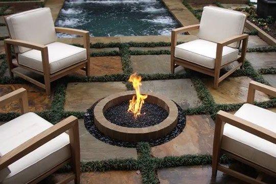 In Ground Fire Pit Natural Gas Bennett Design Landscape Atlanta Ga