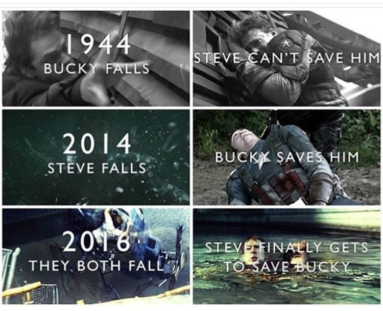 1944: Bucky falls  Steve can't save him  2014: Steve falls  Bucky