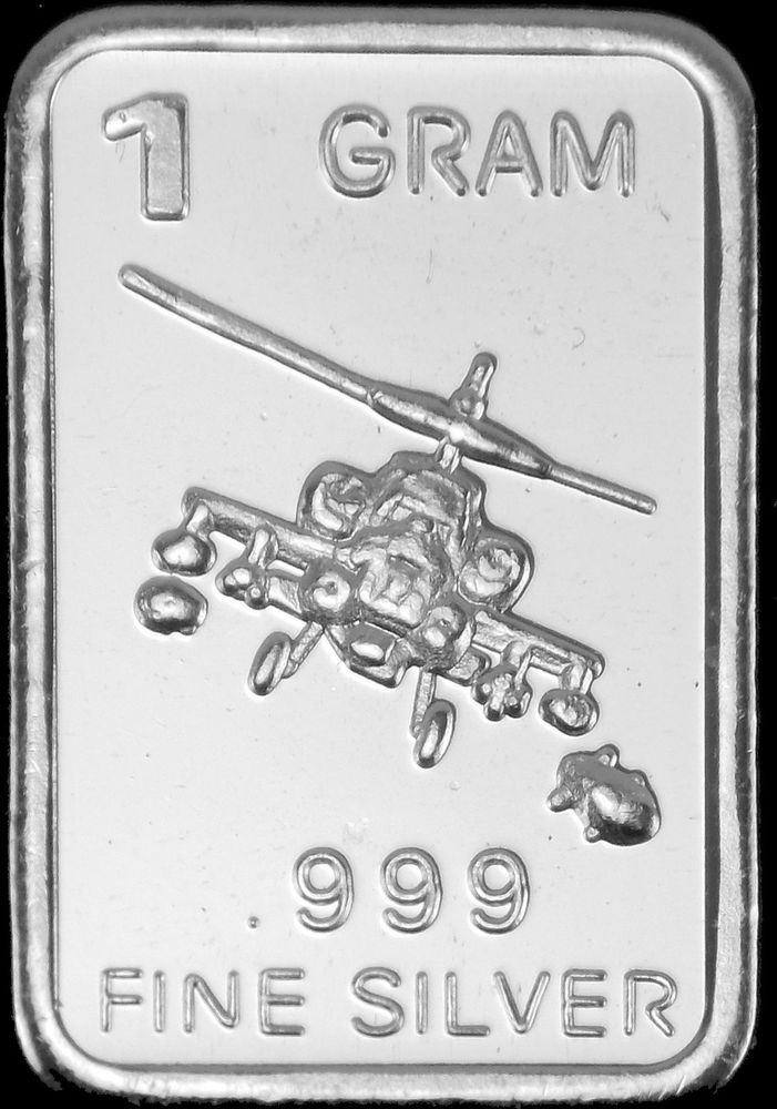 1 Gram Silver Bar Quot Helicopter Quot 999 Fine Silver Bullion
