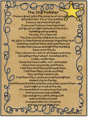 A printable of this sweet poem to print and be reminded of our job ...