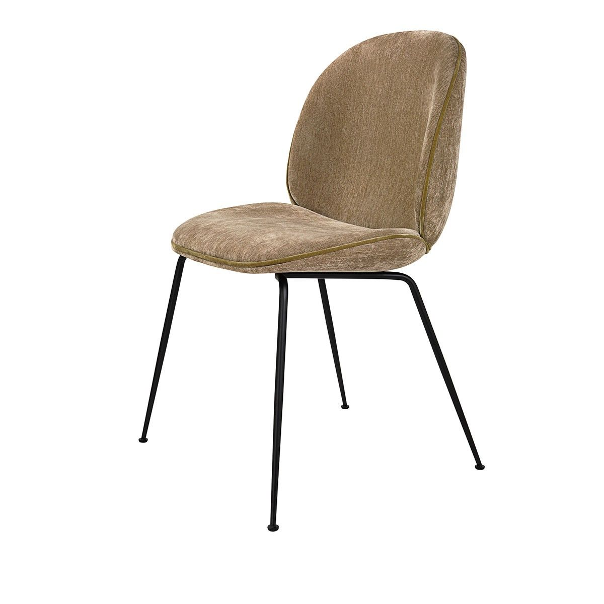 Chaise Beetle Velours Sable Pieds Noirs Gubi Dining Chairs Gubi Beetle Dining Chair Beetle Chair