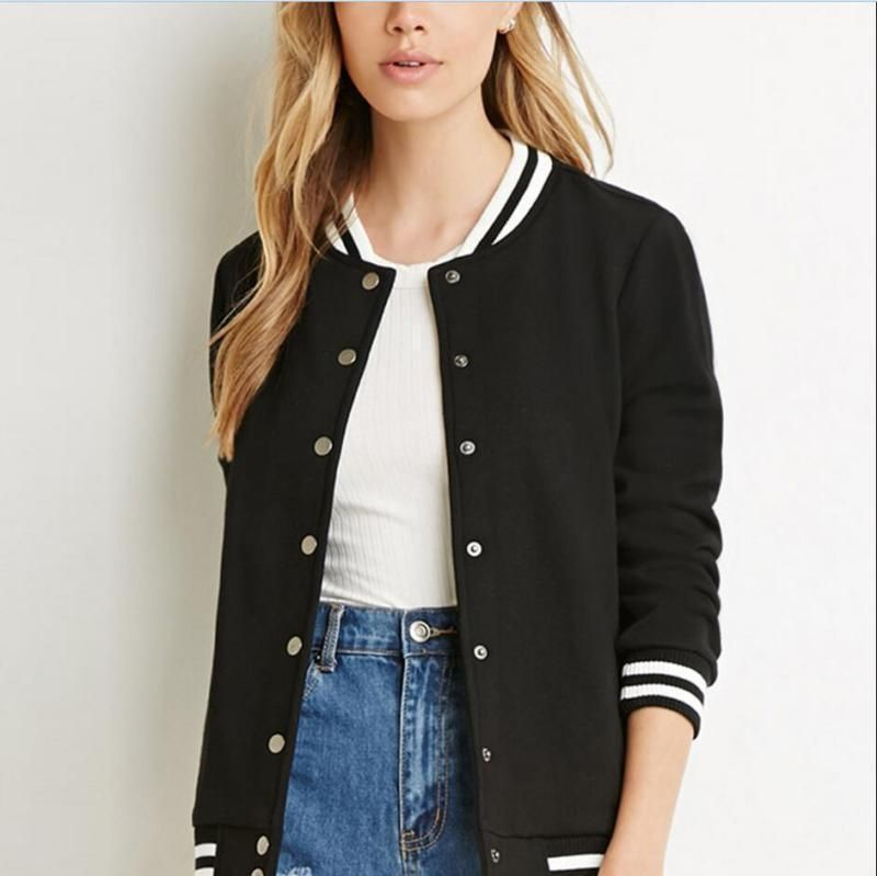Casual Womens Plain Varsity Baseball Jacket Coat College Girl Sports Tops Gr Sz Baseball Jacket Women Baseball Bomber Jacket Baseball Varsity Jacket