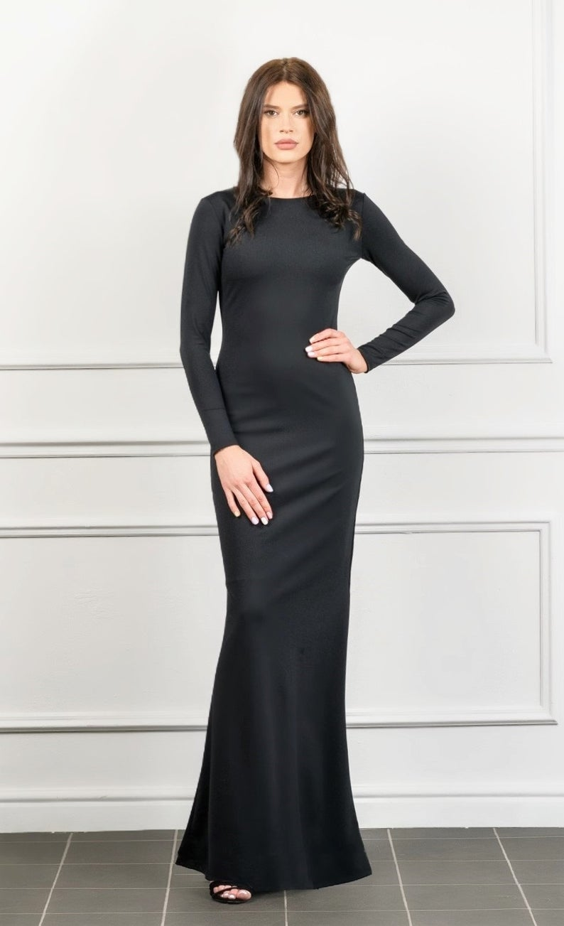 Black Bodycon Long Sleeves Fitted Maxi Dress Bodycon Evening Etsy Red Long Sleeve Bodycon Dress Long Bodycon Dress Long Sleeve Fitted Maxi Dress [ 1303 x 794 Pixel ]