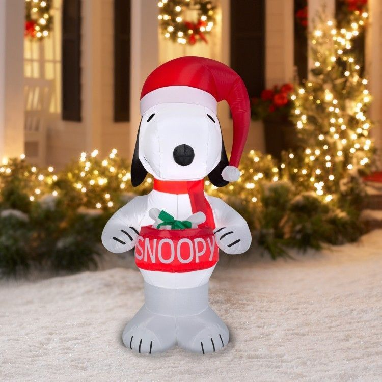 christmas_inflatables christmas snoopy airblown inflatable 5 ft led lighted outdoor xmas decoration easy_shopping08
