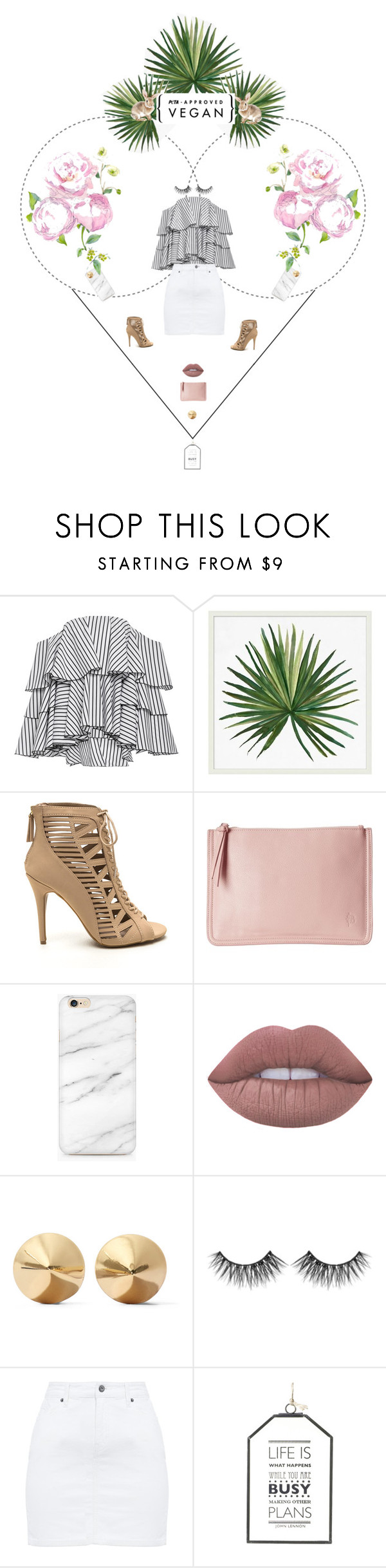 """""""Ruffled Heart"""" by fashion-frugavore on Polyvore featuring Caroline Constas, Pottery Barn, Lime Crime, Eddie Borgo and Huda Beauty"""